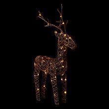 Buy John Lewis Pre-Lit Rattan 60cm Reindeer Light, Natural Online at johnlewis.com
