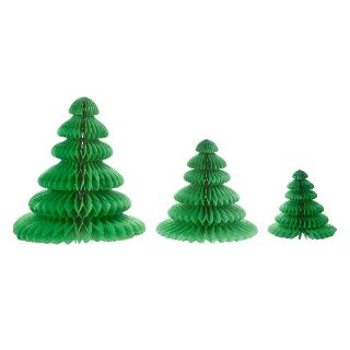 Buy Paper Joy Honeycomb Tree Table Decorations, Pack of 3, Green Online at johnlewis.com