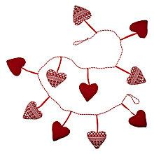 "Buy John Lewis Knitted Heart Garland, 6ft 5"", Red Online at johnlewis.com"