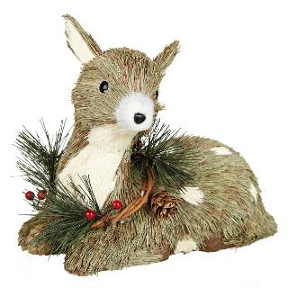 Buy John Lewis Sitting Reindeer Christmas Decoration, Natural Online at johnlewis.com