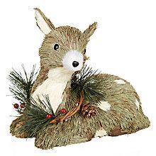 Buy John Lewis Sitting Reindeer Christmas Decoration, Natural Online at johnlewis.com