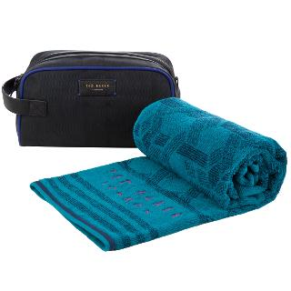 Buy Ted Baker Lobalug Wash Bag and Towel Set, Black/Turquoise Online at johnlewis.com