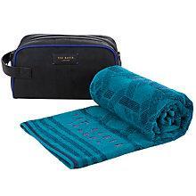 Buy Ted Baker Lobalug Wash Bag and Towel Set, Black/Turquoise Online at johnlewis.com