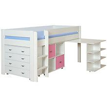 Buy Stompa Uno Plus Mid-sleeper Bedstead with Desk, Chest and 2 Door Cube Unit Online at johnlewis.com