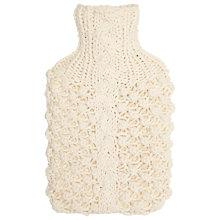Buy John Lewis Hand Knitted Chunky Cable Knit Hot Water Bottle, Cream Online at johnlewis.com