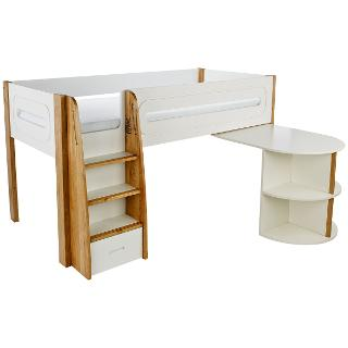 Buy Stompa Curve Mid-Sleeper with Pull-Out Desk, Silk White / Oak Online at johnlewis.com