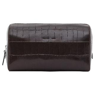 Buy Reiss Saki Textured Leather Wash Bag, Dark Brown Online at johnlewis.com