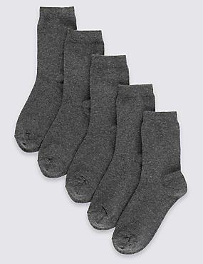 5 Pairs of Cotton Rich School Socks (2-16 Years), GREY, catlanding