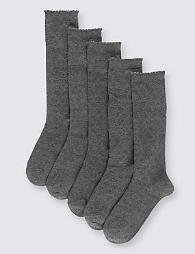 5 Pairs of Knee High Heart Socks (3-14 Years), GREY, catlanding