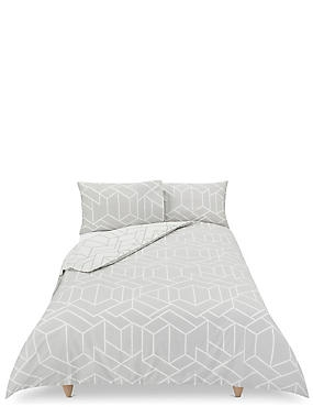 Large Scale Geometric Print Bedding Set, GREY MIX, catlanding