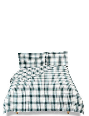 Austin Check Brushed Cotton Bedding Set, DARK GREEN MIX, catlanding
