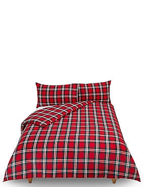 Vintage Checked Brushed Cotton Bedding Set, RED MIX, catlanding