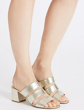 Block Heel Multi Strap Mule Sandals, GOLD, catlanding