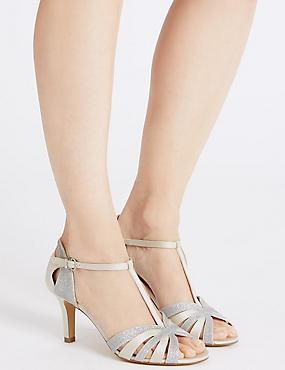 Stiletto Heel Glitter Sandals, SILVER, catlanding