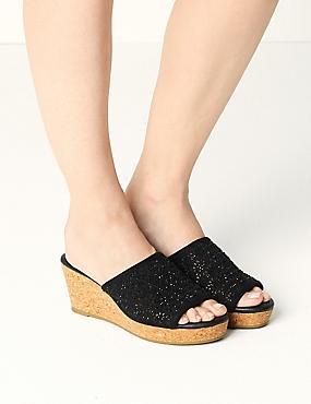Wedge Heel Slip-on Sparkle Mule Sandals, BLACK, catlanding
