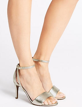 Stiletto Heel Two Part Sandals, GOLD, catlanding
