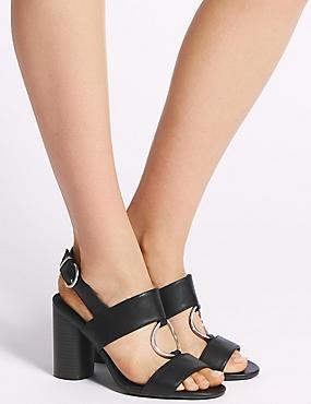 Block Heel Two Band Ring Sandals, BLACK, catlanding