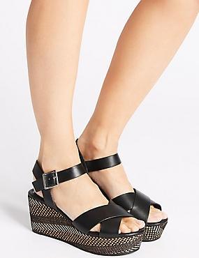 Wedge Heel Textured Crossover Sandals, BLACK MIX, catlanding