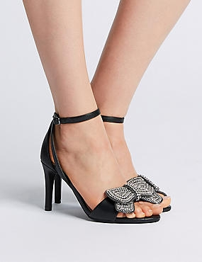 Stiletto Heel Jewelled Bow Sandals, BLACK, catlanding
