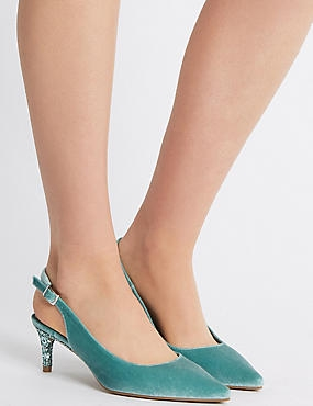 Kitten Heel Slingback Court Shoes, MINT, catlanding
