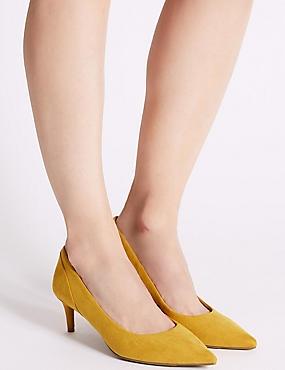 Kitten Heel Pointed Toe Court Shoes, DARK OCHRE, catlanding
