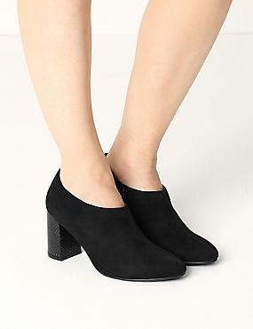 Block Heel Side Zip Shoe Boots with Insolia®, BLACK, catlanding