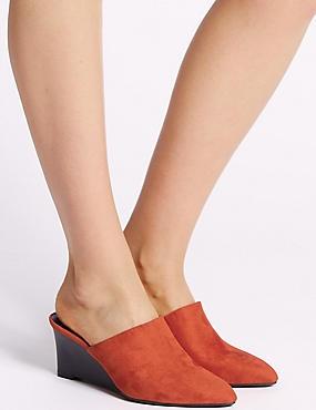 Wedge Heel Mule Shoes, TERRACOTTA, catlanding