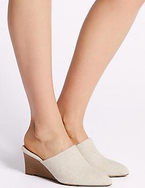Wedge Heel Mule Shoes, WHITE, catlanding