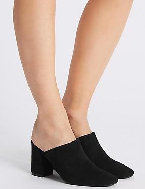 Block Heel Mule Shoes, BLACK, catlanding