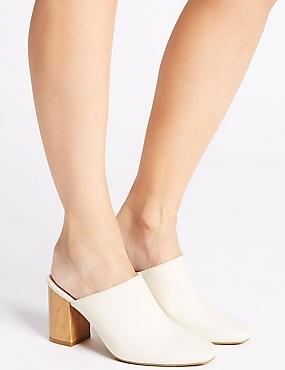 Block Heel Mule Shoes, Cream, catlanding