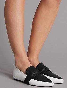Leather Vamp Loafers, BLACK/WHITE, catlanding