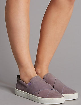 Suede Strap Trainers, LILAC, catlanding