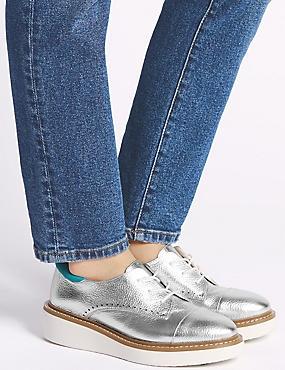 Leather Flatform Brogue Shoes, SILVER, catlanding