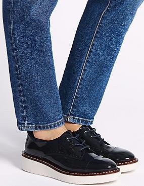Leather Flatform Brogue Shoes, MIDNIGHT, catlanding