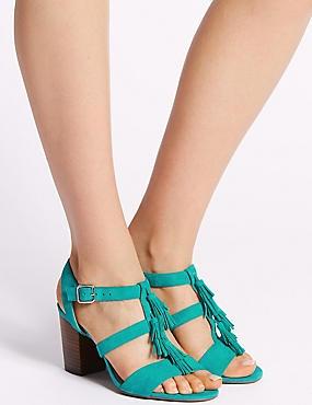Suede Block Heel Tassel Sandals, AQUA, catlanding