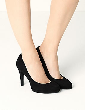 Stiletto Platform Court Shoes, BLACK, catlanding