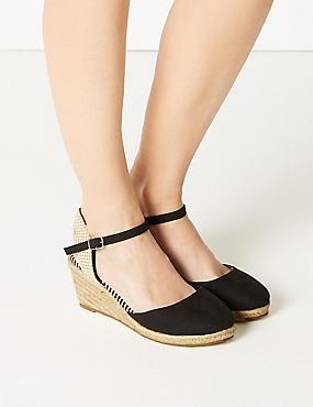Wide Fit Wedge Heel Espadrilles , BLACK, catlanding