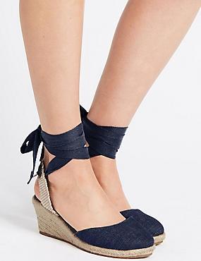 Wide Fit Wedge Heel Lace-up Espadrilles, DENIM, catlanding