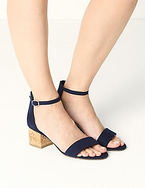 Wide Fit Block Heel Two Part Sandals, NAVY, catlanding