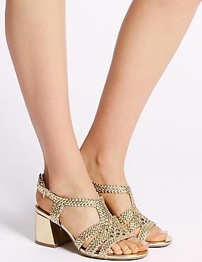 Wide Fit Block Heel Sandals, METALLIC, catlanding