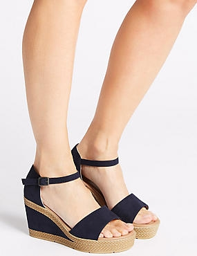 Wide Fit Wedge Heel Two Band Sandals, NAVY, catlanding