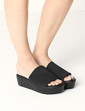 Wide Fit Wedge Heel Mule Sandals, BLACK, catlanding