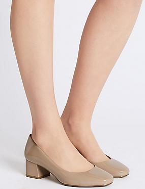 Wide Fit Block Heel Court Shoes, NUDE, catlanding