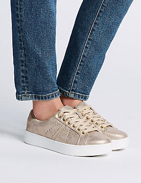 Extra Wide Fit Lace-up Trainers, METALLIC, catlanding