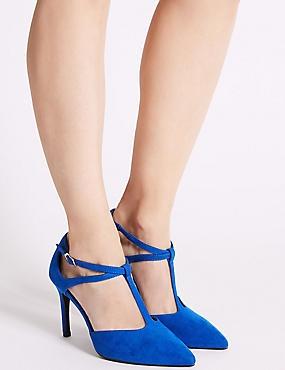Wide Fit Stiletto Heel T-Bar Court Shoes, BLUE, catlanding