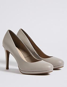 Wide Fit Stiletto Heel Platform Court Shoes, GREY, catlanding