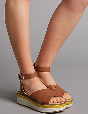 Leather Cross Strap Flatform Sandals, TAN, catlanding