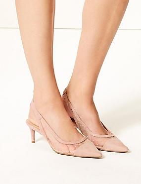 Kitten Heel Slingback Court Shoes , BLUSH, catlanding