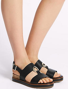 Leather Ring Detail Sandals, BLACK, catlanding