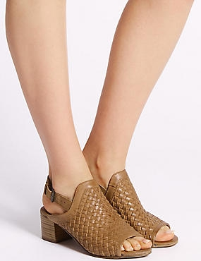 Leather Weave Slingback Sandals, TAN, catlanding
